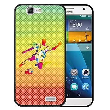 WoowCase Funda Huawei Ascend G7, [Huawei Ascend G7 ] Funda Silicona Gel Flexible Jugador de Fútbol con Balón Deporte, Carcasa Case TPU Silicona - ...