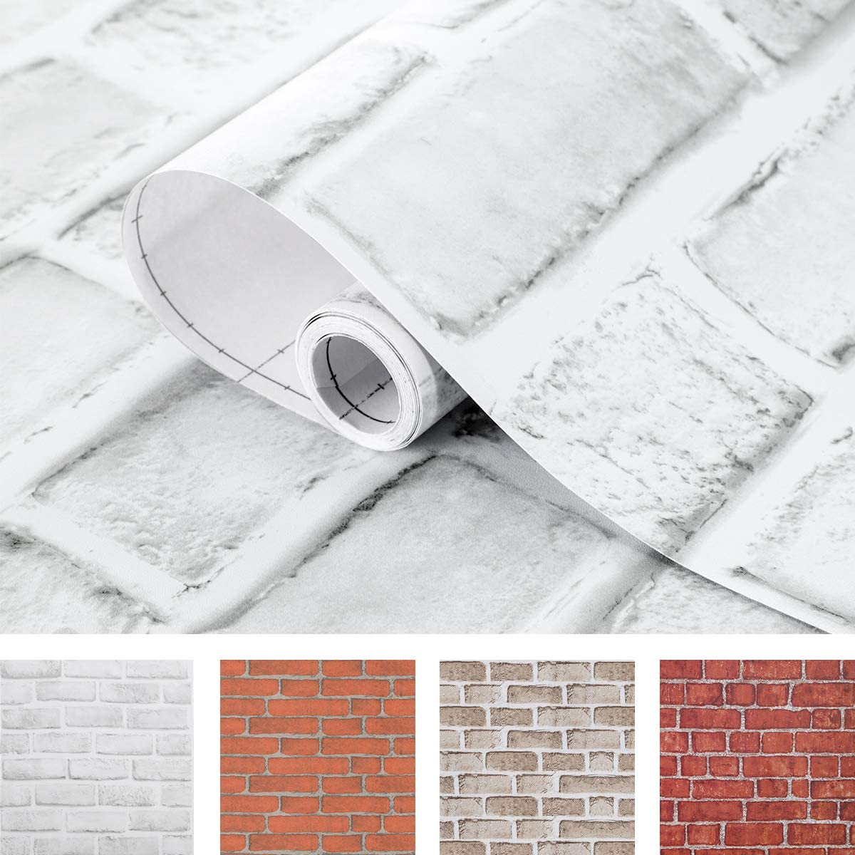 Coavas White Brick Wallpaper 17.7x196.9 Inches Self-Adhesive Peel and Stick Paper Decorative Easy to Stick Faux Brick Printed Waterproof Stick Paper White