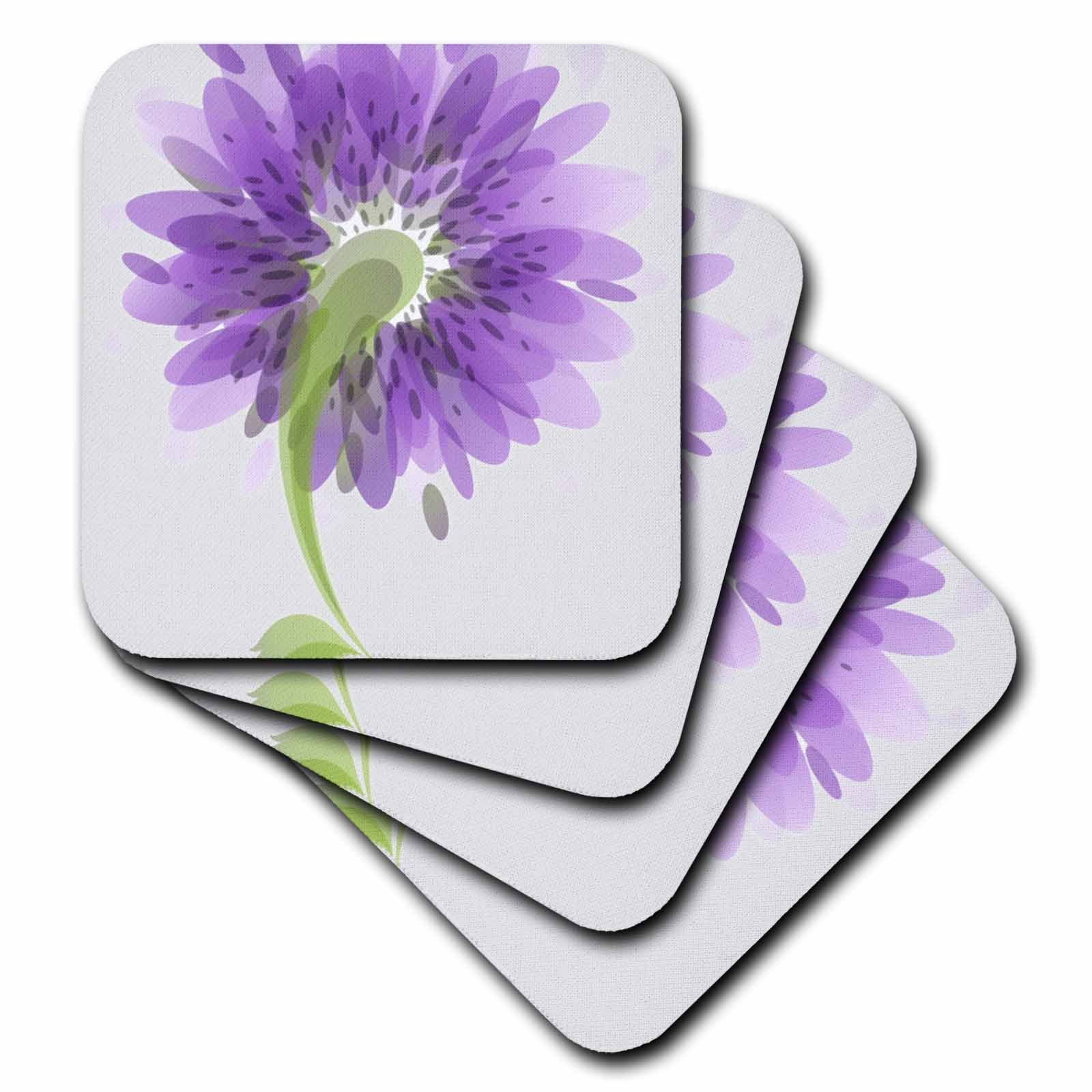 3dRose cst_23470_1 Purple Watercolor Flowers-Soft Coasters, Set of 4