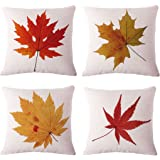 LEIOH BPFY Cotton Linen Leaves,Maple Leaf Cushion Covers 18 x 18 Inch Sofa Home Decor Throw Pillow Case Pillow Covers Set of 4