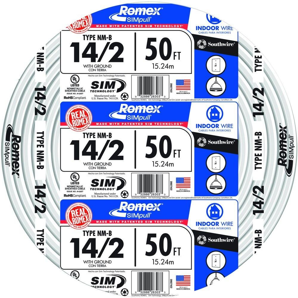 Southwire 28827422 50' 14/2 with ground Romex brand SIMpull residential indoor electrical wire type NM-B, White