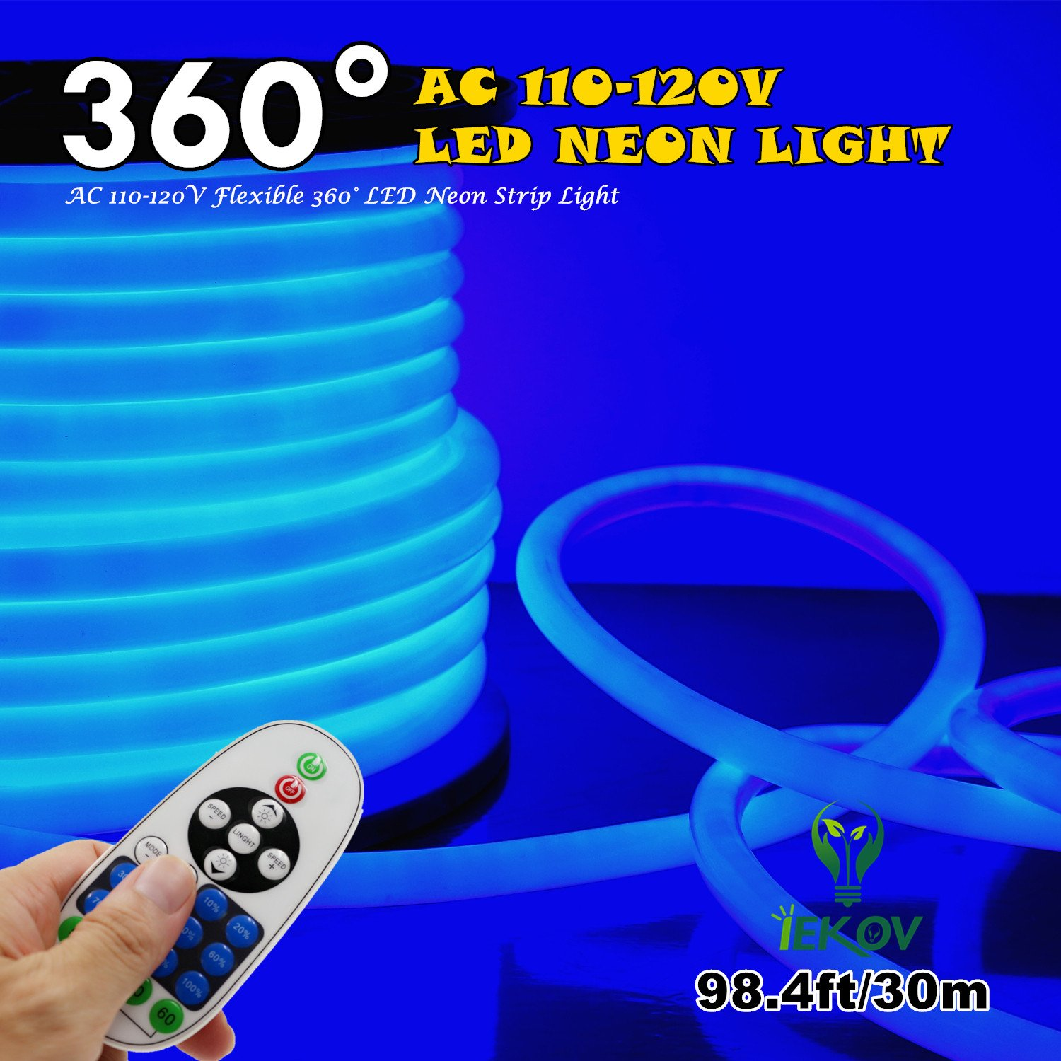 [UPGRADE] 360° LED NEON LIGHT, IEKOV™ AC 110-120V Flexible 360 Degree LED Neon Strip Lights, Dimmable & Waterproof NEON LED Rope Light + Remote Controller for Decoration (98.4ft/30m, Blue)