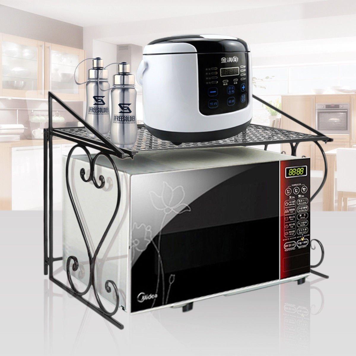 n-bright shop Wrought Iron Microwave Oven Storage Rack Stand Kitchen Organizer Counter Sturdy Metal Shelf 2 Tier