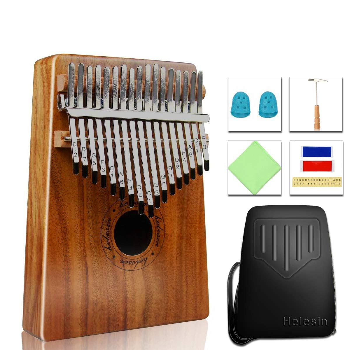 17 Keys Kalimba Thumb Piano, Professional KOA Mbira Protable Finger Piano with EVA Waterproof Hard Protective Case, Gift for Kids Adult Beginners by HELESIN