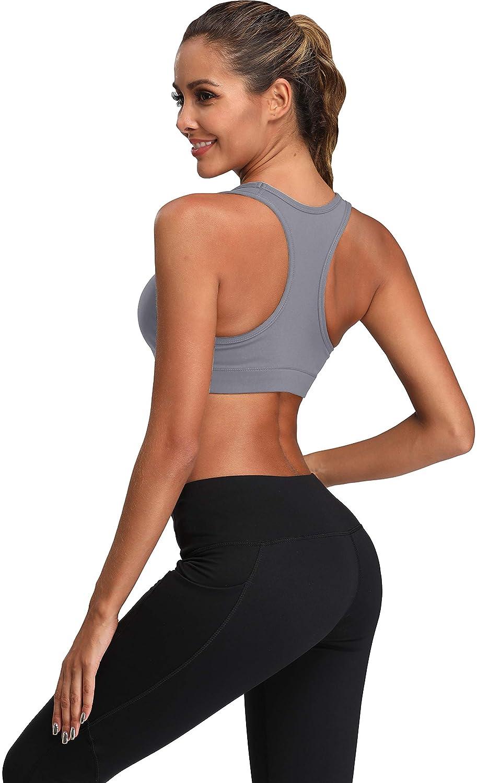 Oalka Womens Racerback Sports Fitness Support Workout Running Bras ...