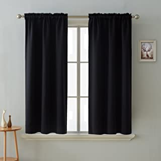 Deconovo Blackout Curtains Room Darkening Thermal Insulated Curtain Panels Rod Pocket for Living Room Black 38 x 45 Inch 2 Panels