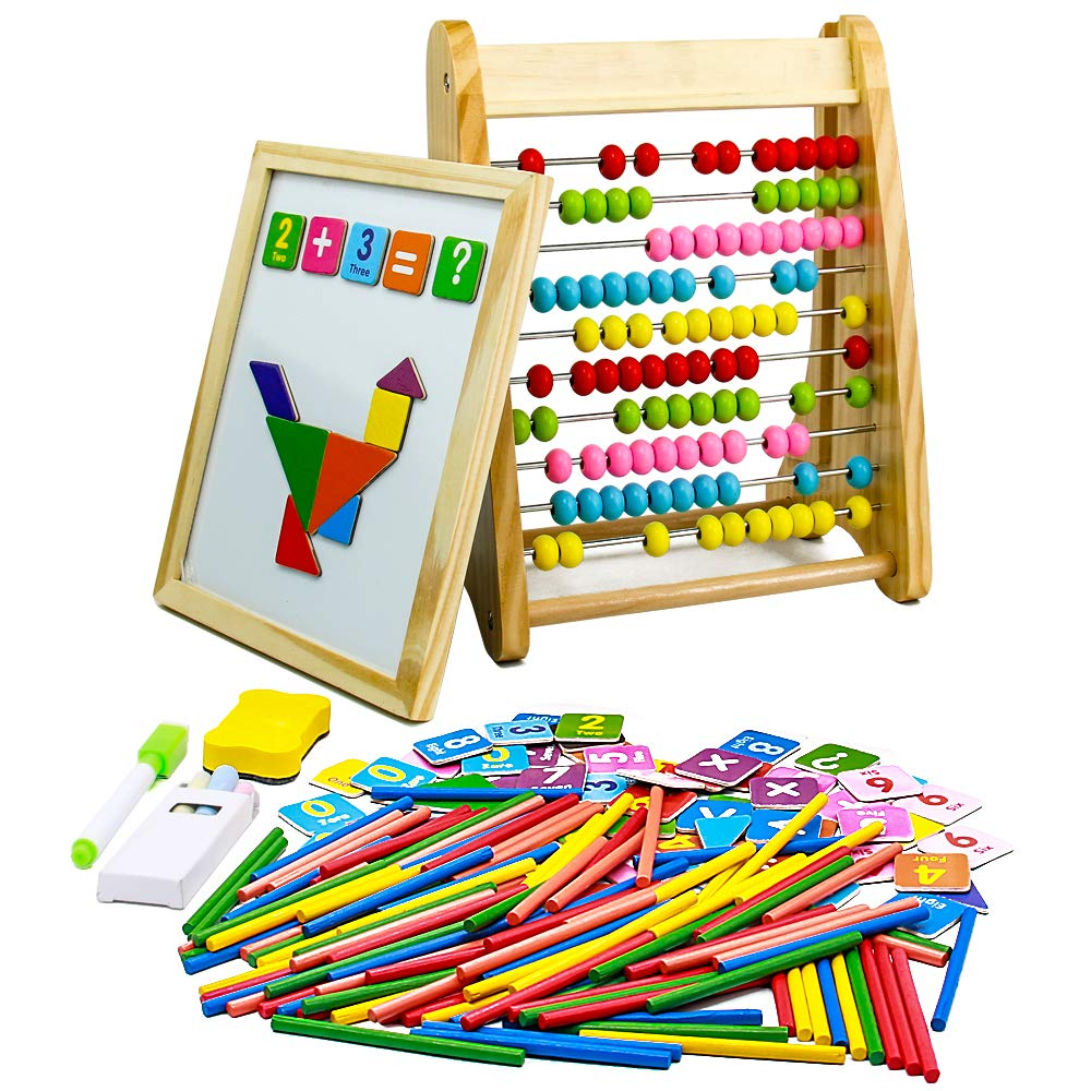 Jerryvon Wooden Abacus Drawing Board Educational Counting Toys Kids Montessori Magnetic Puzzle Games Gift for Toddler 3…
