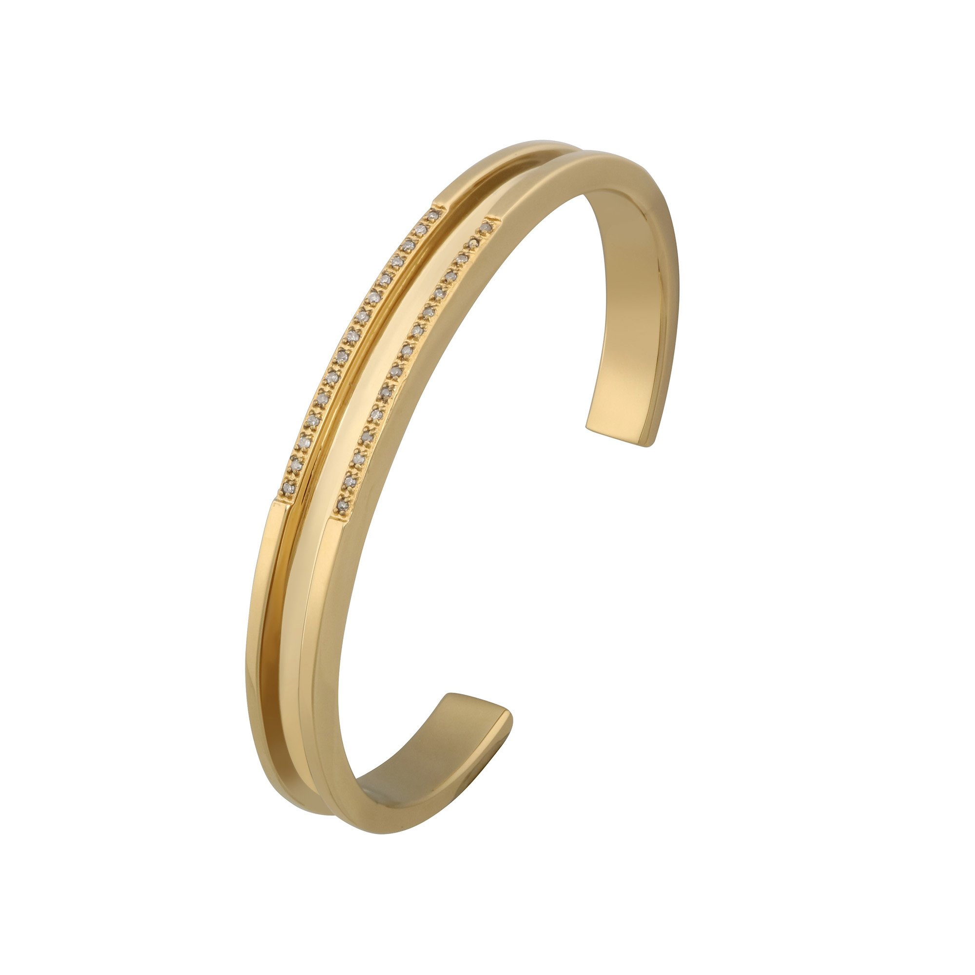 Hair Tie Diamond Bangle, Gold, stainless steel, Dia TW15