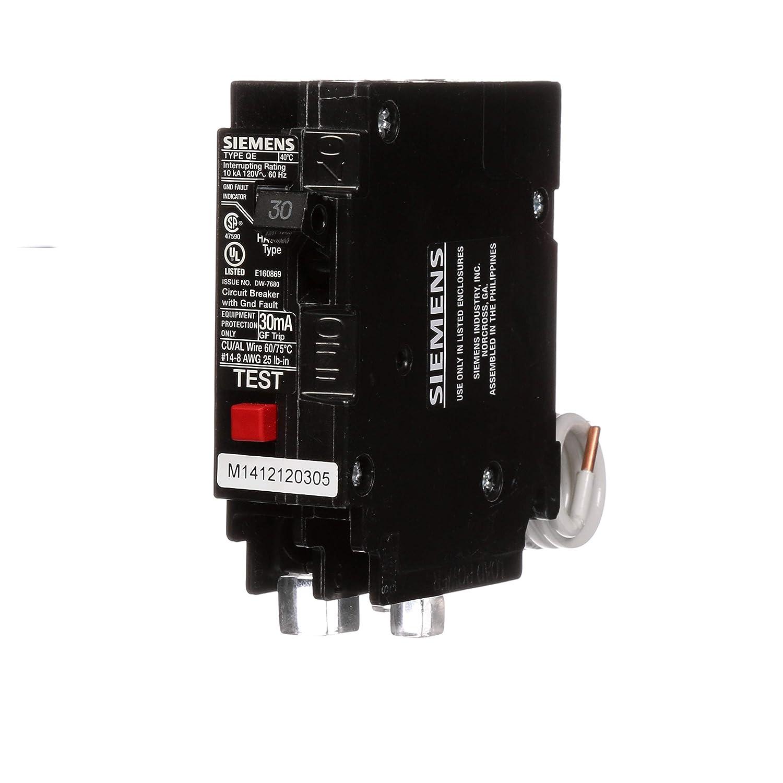 QE130 30-Amp Single Pole 120-Volt Ground Fault Equipment Protection Circuit Breaker Siemens HI