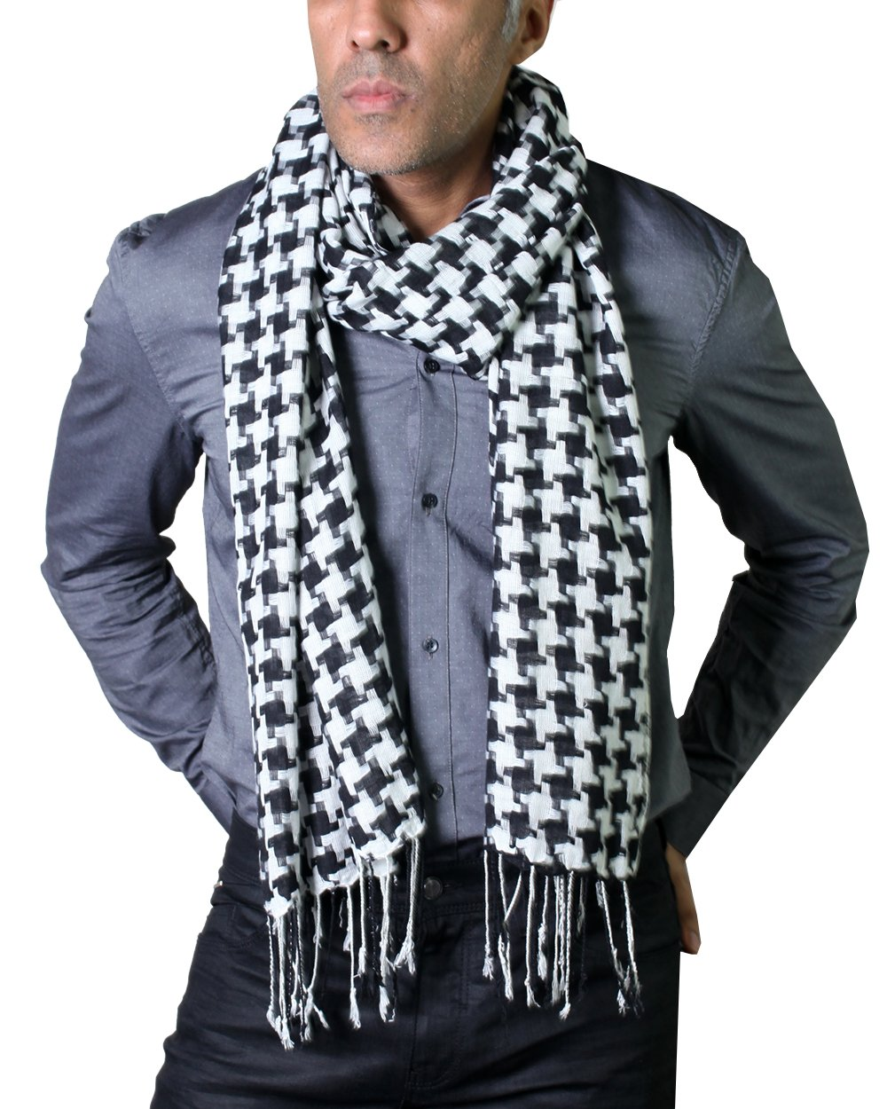 Men's Black and White Houndstooth Pattern Fashion Scarf, Lightweight & Soft