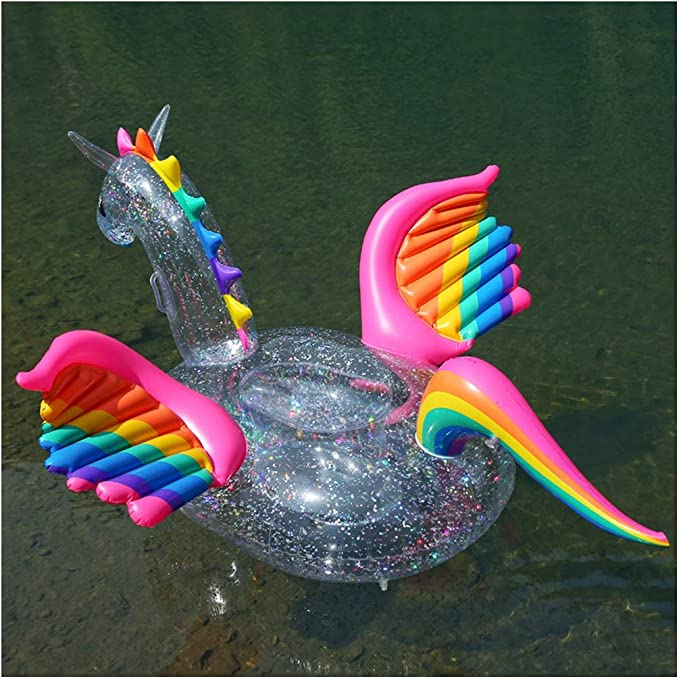 WYJHNL Flotador Unicornio con BrillosTransparente Colchonetas ...