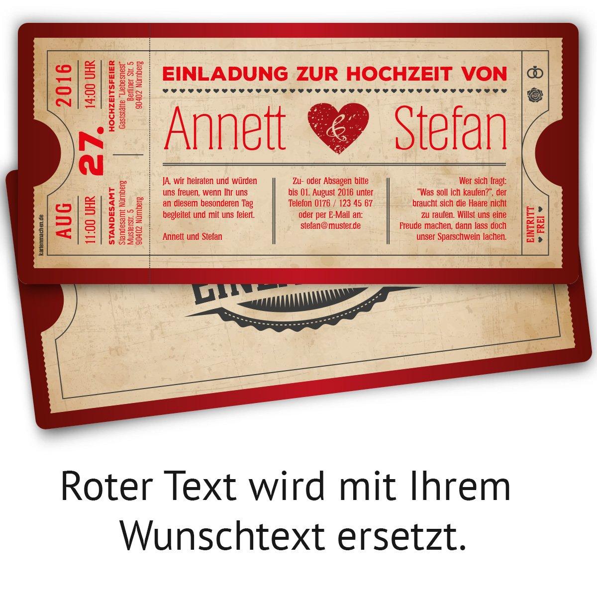 Einladungskarten Zur Hochzeit 10 Stuck Als Eintrittskarte Vintage