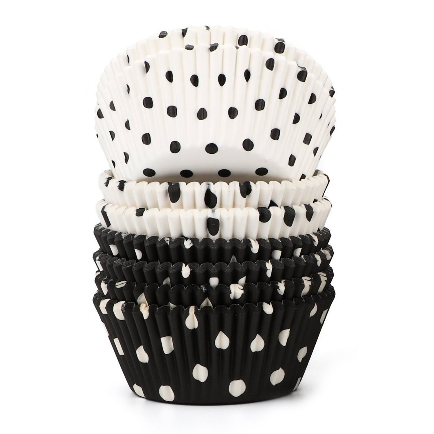 SODIAL 200 Count Polka Dots Black and White Paper Baking Cups / Cupcake Liners Standard Size