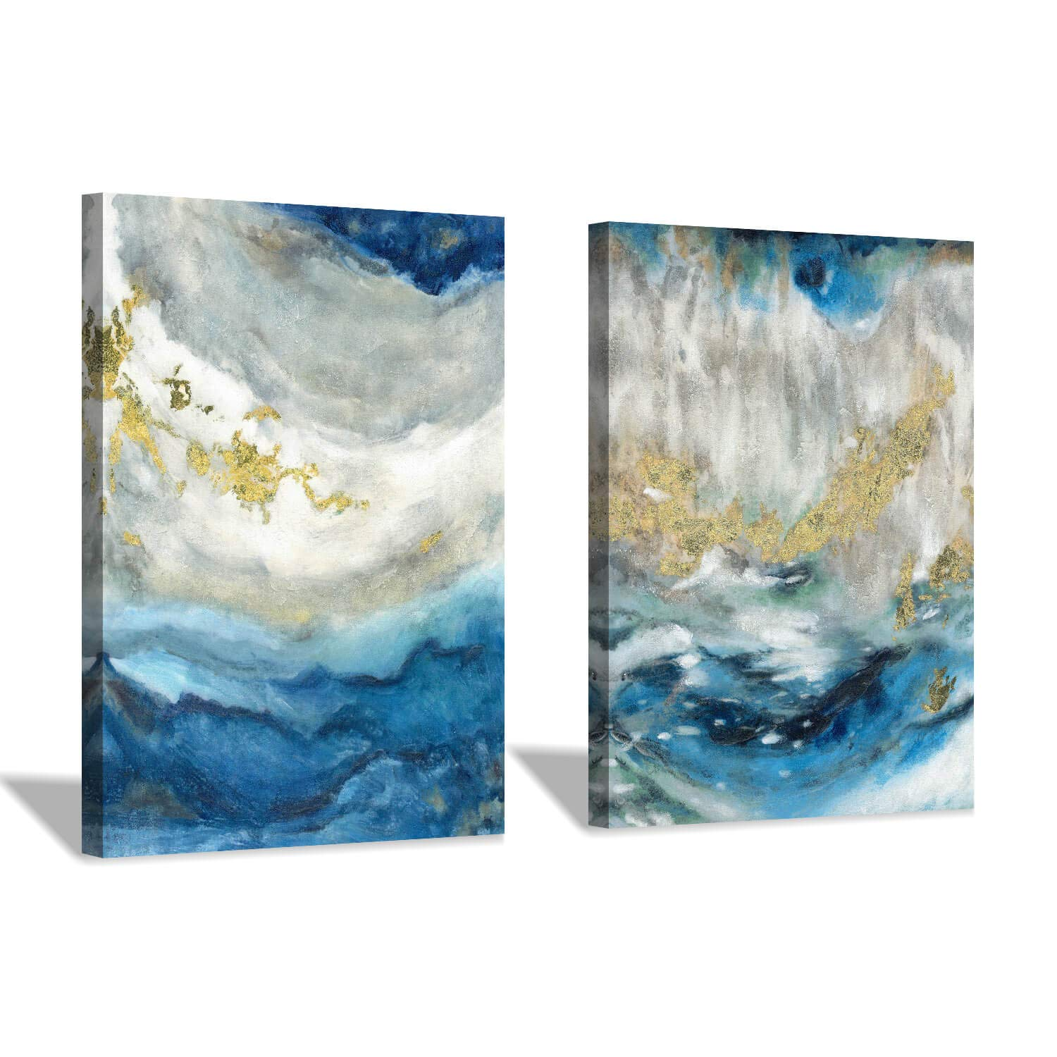 Blue Abstract Canvas Wall Art: Hand-Painted White & Blue Painting Picture with Gold Foil Artwork for Living Room (16'' x 12'' x 2 Panels)