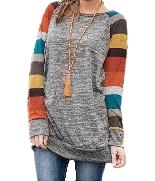 Mujeres de algodón de punto de impresión en color Blusa manga larga Sudadera básica Tops,