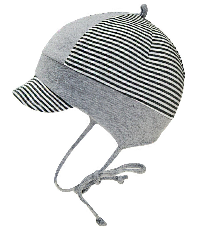 EveryHead Fiebig Sommermützchen Bindemütze Schirmmütze Jungenmütze Baby Keinkind gestreift mit Ohrenklappen und Schild für Kinder (FI-87192-S16-JU0) inkl Hutfibel