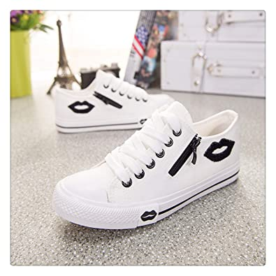 Amazon.com | Designer Women Sneakers Summer Zip Red Lips Canvas Shoes White Casual Shoes Comfortable Zapatillas Mujer Basket Femme White 5.5 | Fashion ...