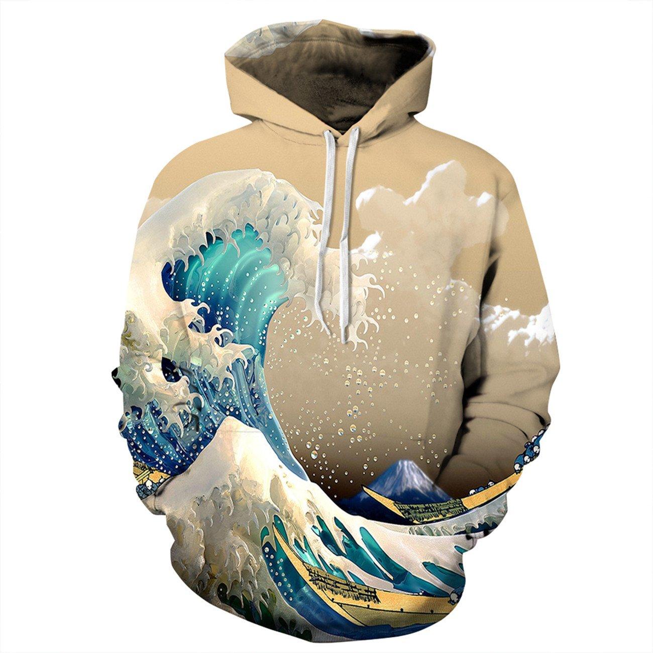 Mens Long Sleeve 3D Digital Print New Sea Wave Lovers Design Sports Pullover Hoodies