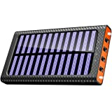 Solar Charger 24000mAh Portable charger, TSSIBE Solar Power Bank with LED Flashlight,Multiple USB Output & Input Ports External Battery Pack for Cellphones,Android Phones,GoPro Camera,GPS and More (Orange)