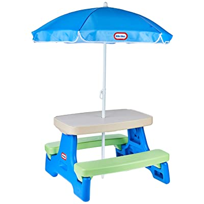 Little Tikes Easy Store Jr. Picnic Table with Umbrella - Blue / Green: Toys & Games