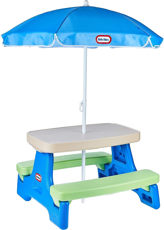 B00B0DWB8U Little Tikes Easy Store Jr. Picnic Table with Umbrella - Blue / Green 71PLgAFfNoL
