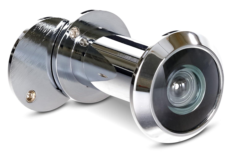 Judas Stoppwerk Laiton 14 mm pour porte d'entrée aspect ancien pour un montage dans des vantaux de porte de 35-55 mm, grand angle de 200° avec cache de surveillance grand angle de 200° avec cache de surveillance