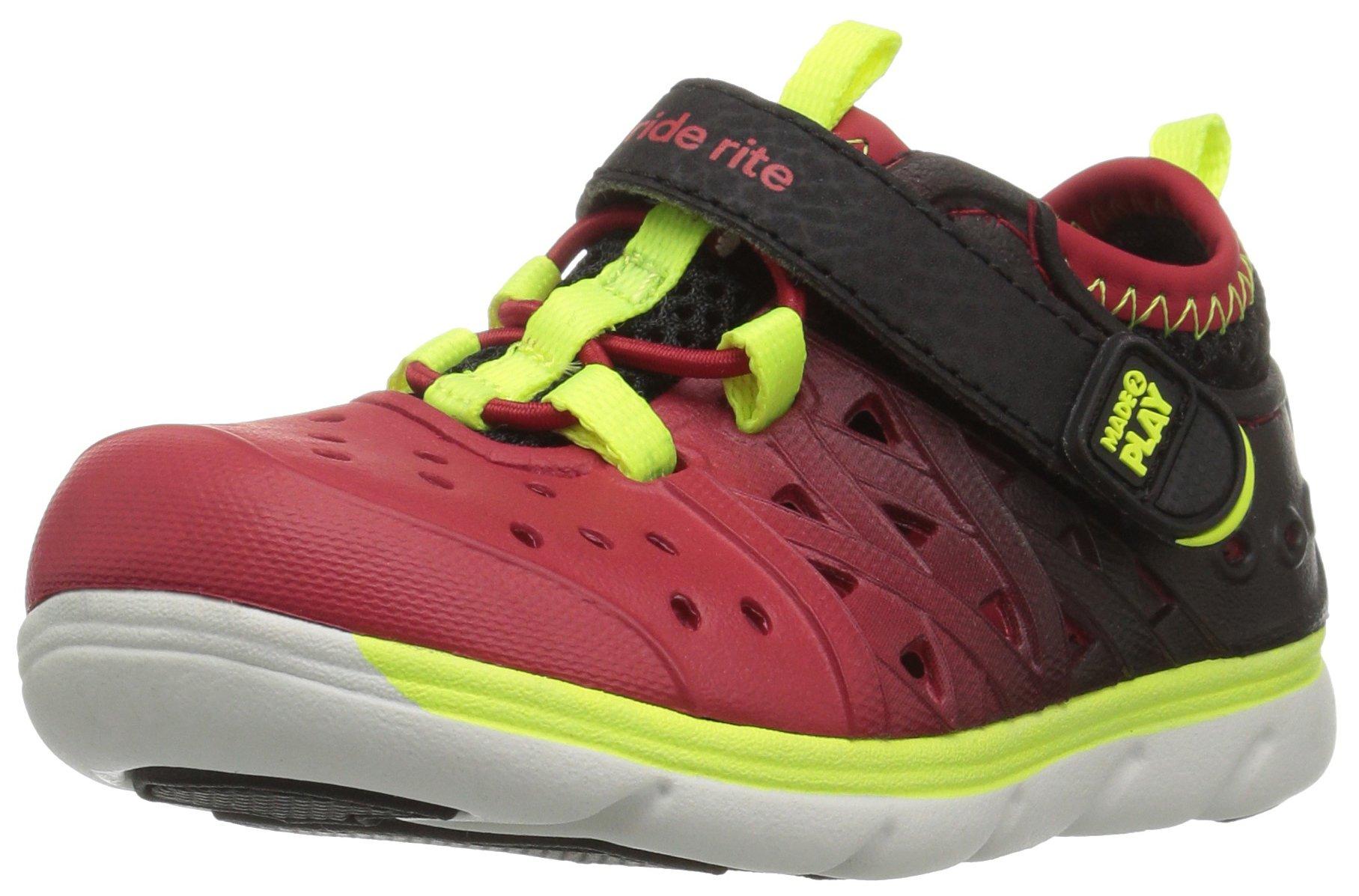 Stride Rite Made 2 Play Phibian Sneaker Sandal Water Shoe (Toddler/Little Kid/Big Kid), Black/Red, 8 M US Toddler