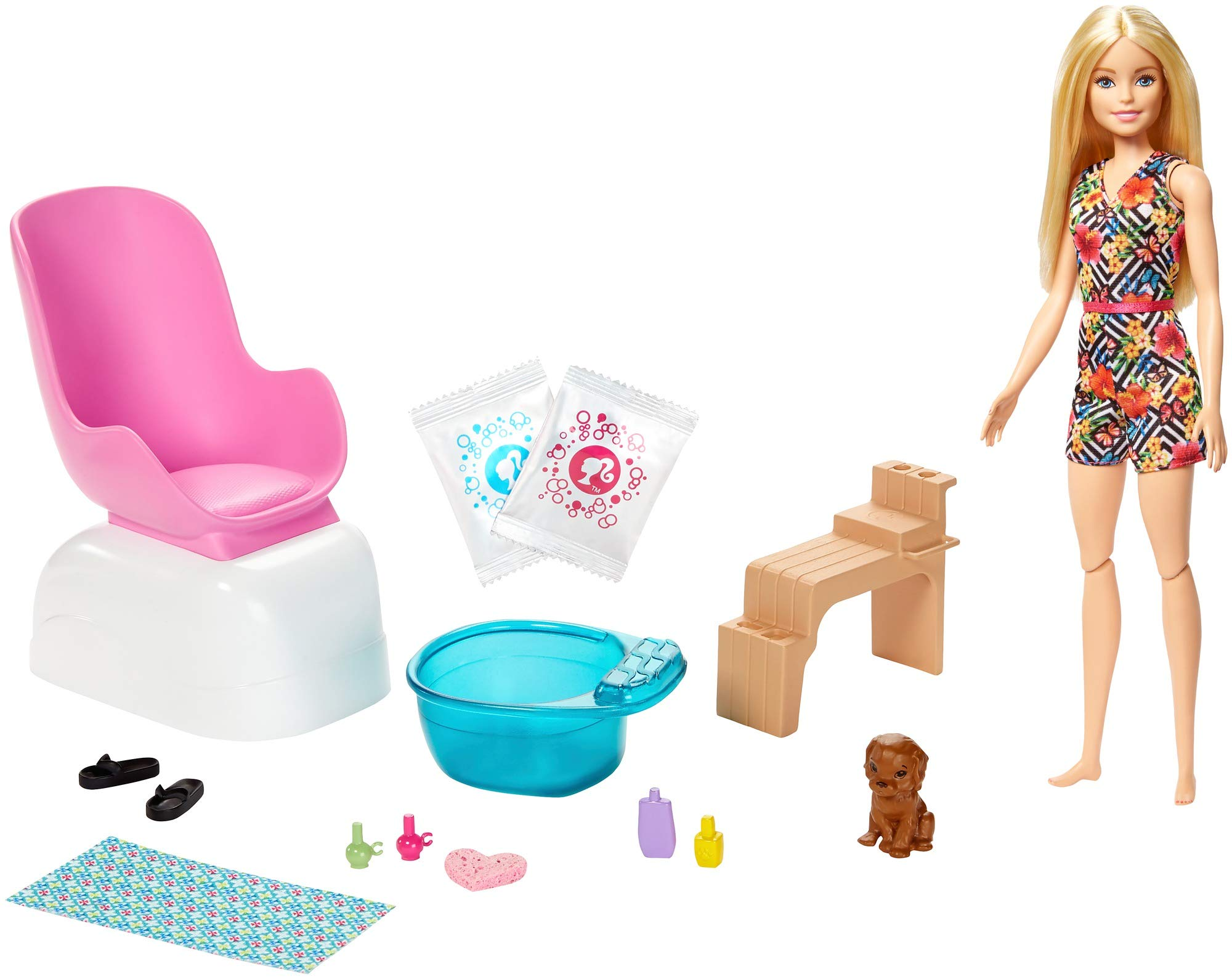 Barbie Mani-Pedi Spa Playset with Blonde Doll, Puppy, Foot Spa & Accessories, 2 Fizzy Packs Create Foaming Foot Bath, Color-Change on Doll's Nails, Gift for Kids 3 to 7 Years Old