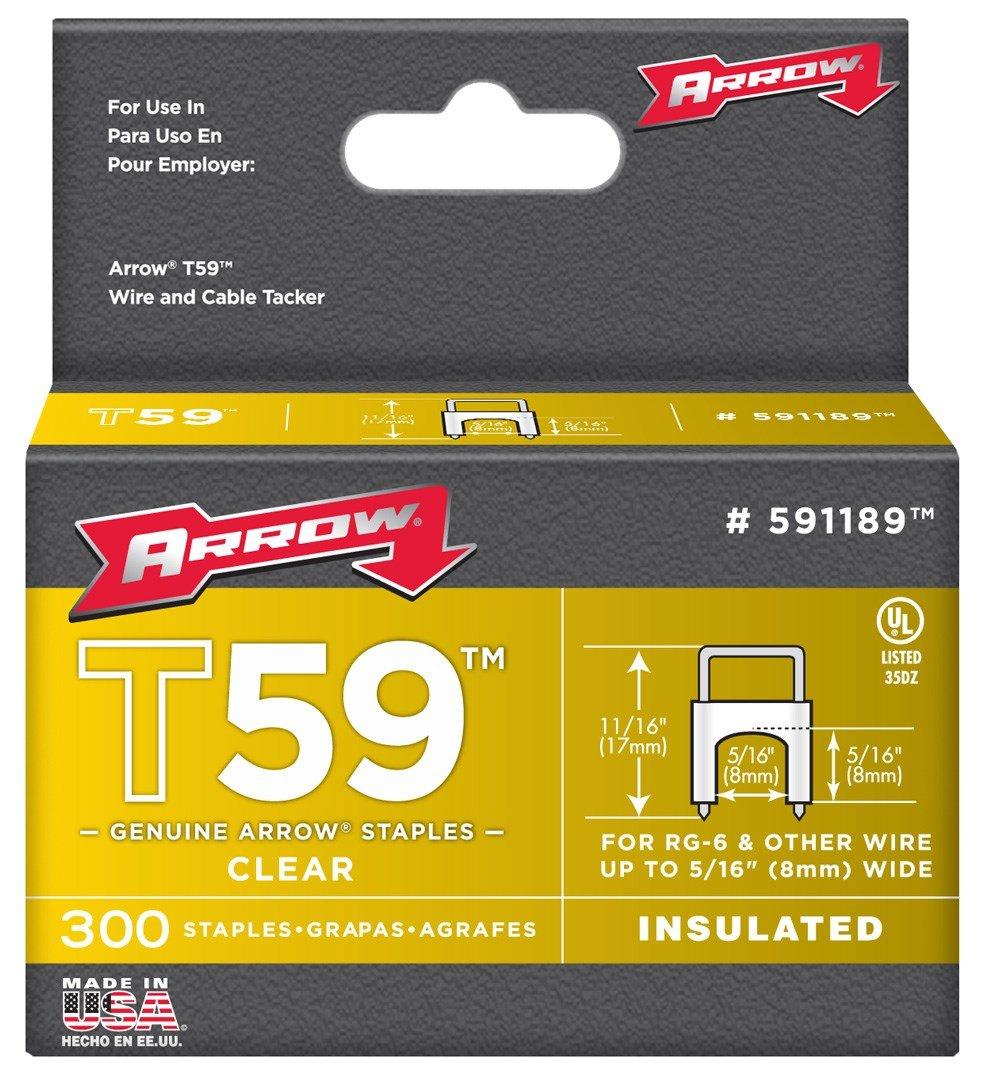 Arrow Fastener 591189 5/16'' x 5/16'' Clear T59 Staples