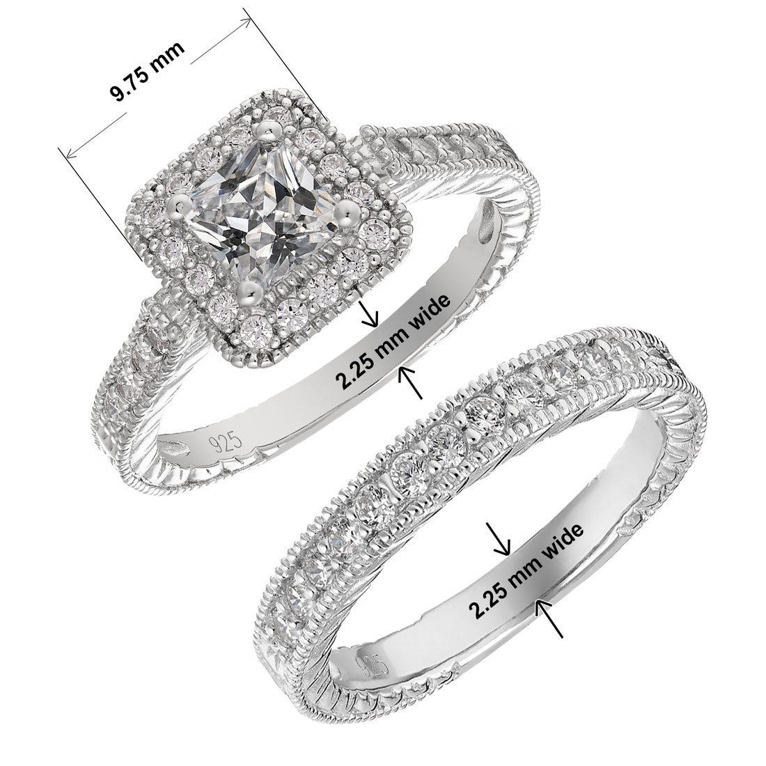 Sterling Silver Engagement Wedding Ring Set Princess Cut Cubic Zirconia CZ 1.1 ct.tw - Nickel Free [Size 9]
