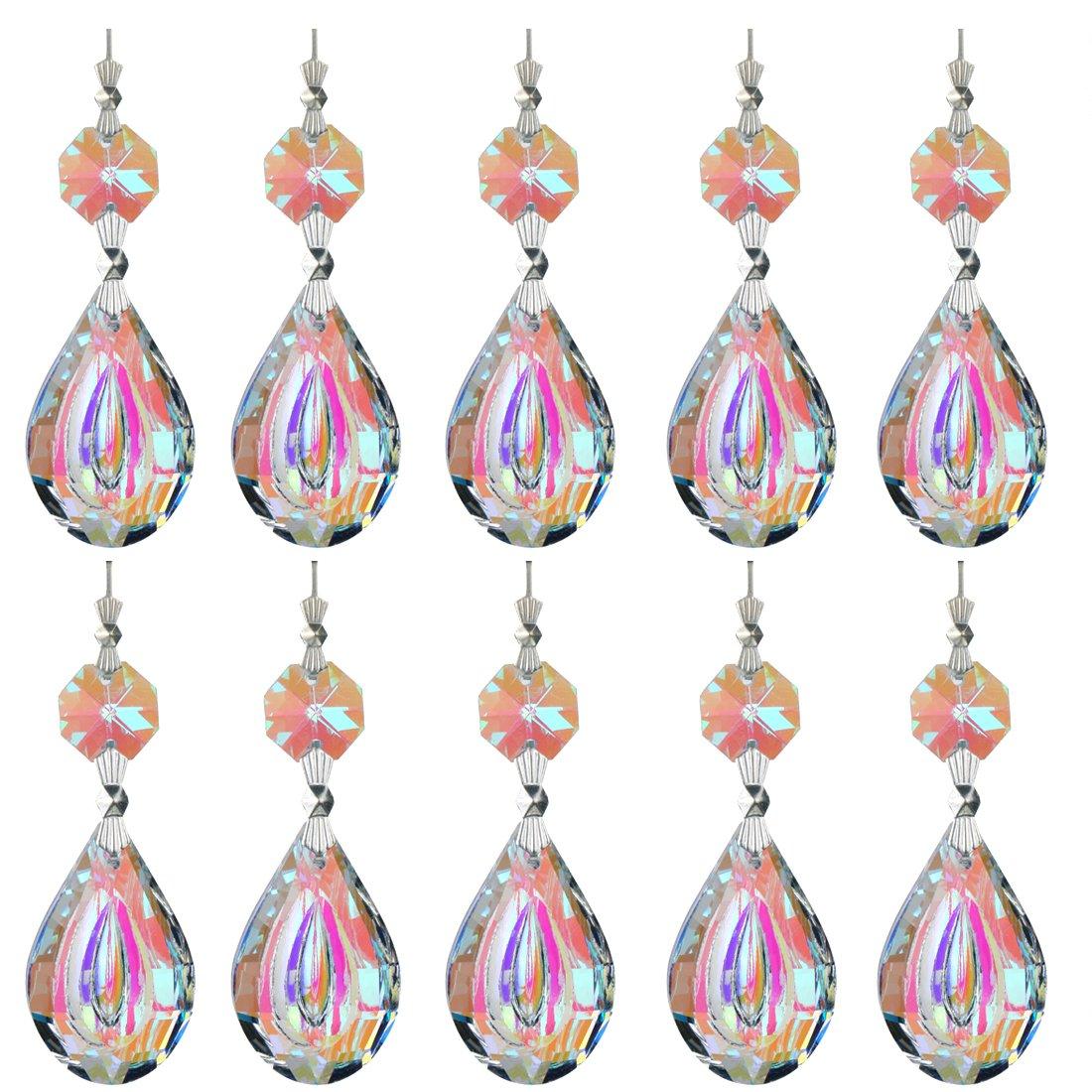 H/&D Colorful Lamp Prisms Parts 38mm Loquat Shape with Octagon Bead Chandelier Glass Crystals Hanging Drops Pendants Color-10pcs