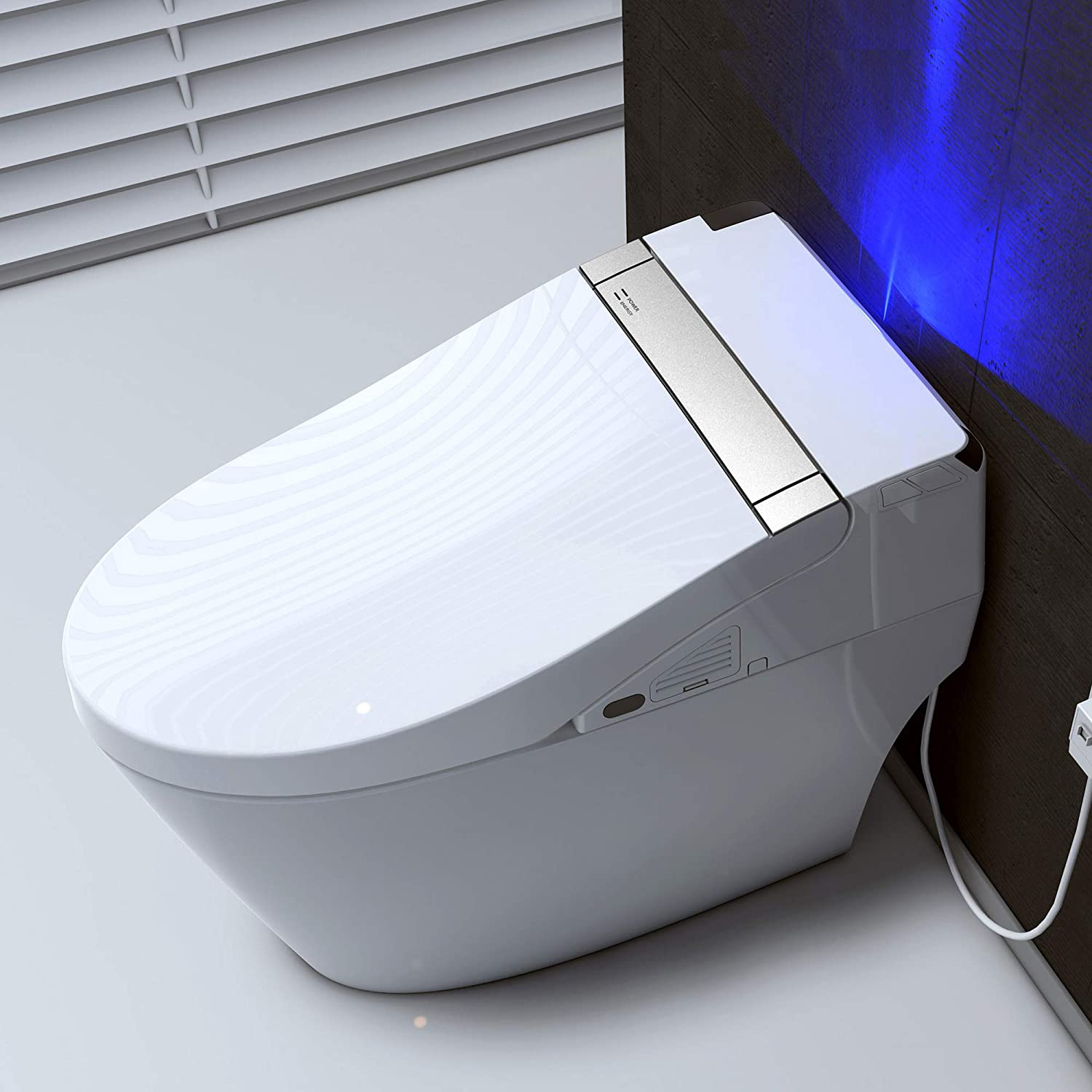 Woodbridge B 0960s B0960s Smart Bidet Seat Toilet With Integrated Dual Flush With Remote Control White Amazon Com