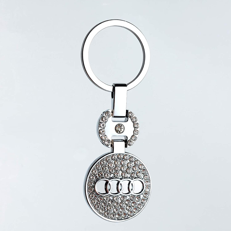 Silver Metal Emblem Car Keychain for Mercedes Benz Crystal Silver Decoration Women Handbag Wallet Key Ring Key Chain Keychains Accessories-Benz