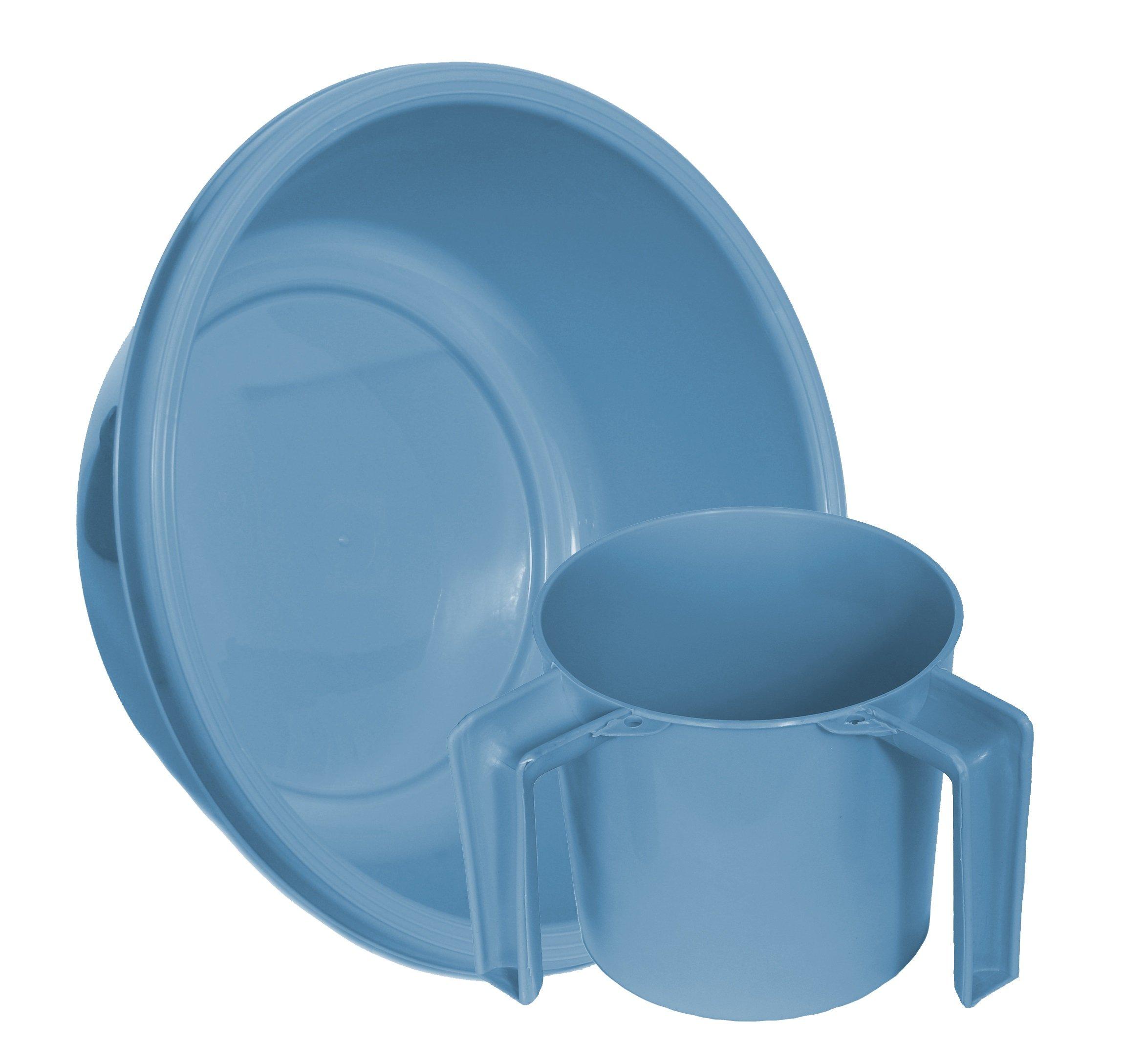 YBM Home Round Wash Cup & Round Wash Basin Netilat Yadayim, Negel Vasser Set Ba157-1147set (1, Light Blue)
