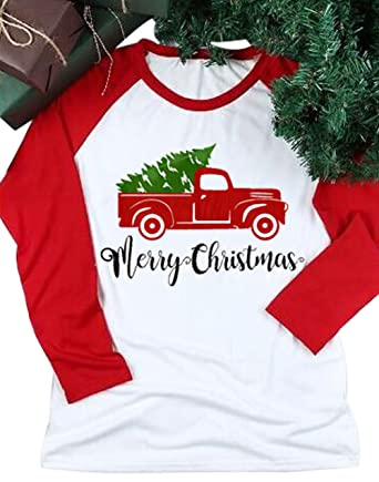 5275c122 Amazon.com: Women Merry Christmas Y'all Truck Tree Shirt Top Christmas  Holiday Cute Graphic T Shirt Tee: Clothing