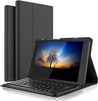 IVSO Teclado Estuche para Lenovo Tab4 8 [QWERTY], Slim Stand Funda con Removible Wireless Teclado para Lenovo Tab4 8 / Lenovo Tab 4 8, Negro