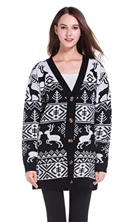 72b916a8d1a v28 Womens Oversized Christmas Reindeer Cardigan at Amazon Women s ...