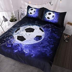 BlessLiving 3D Soccer Ball Bedding Blue Flames Teen Boys Sports Duvet Cover 3 Piece Dark Navy Blue Comforter Cover Set (Queen)