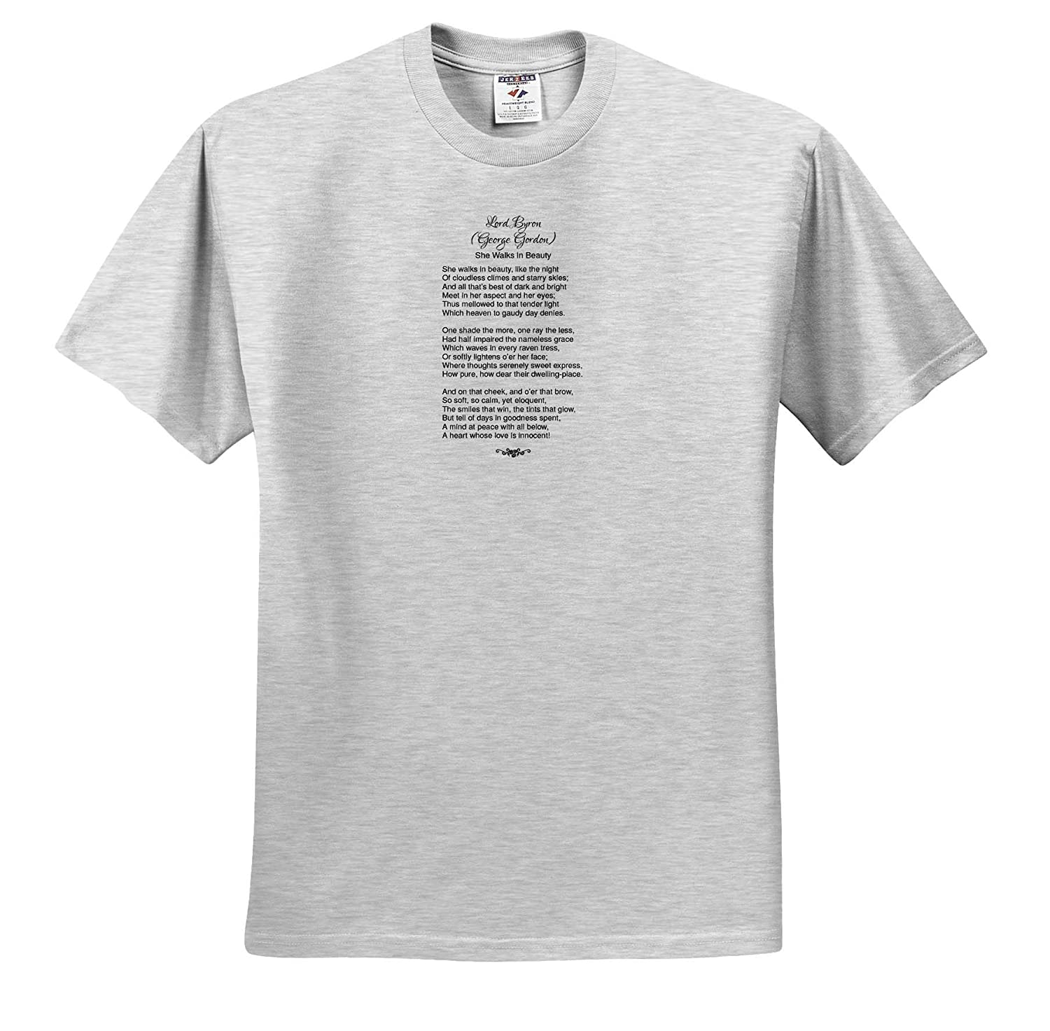 3dRose Alexis Design T-Shirts Poetry Lord Byron George Gordon She Walks in Beauty Like The Night