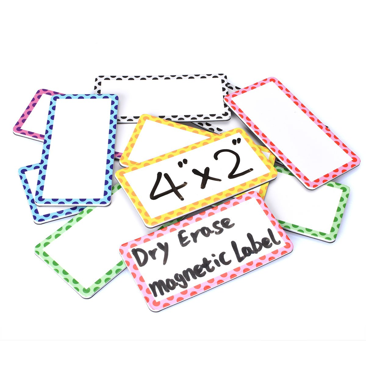 Magnetic Dry Erase Board Magnetic Labels 4'' x 2'' with Cute Bright Borders - Stronger Magnet - Sturdy, Reusable, Effective on Schedule Board, Lockers, Fridge and Classroom Behavior Chart (12 Pcs)