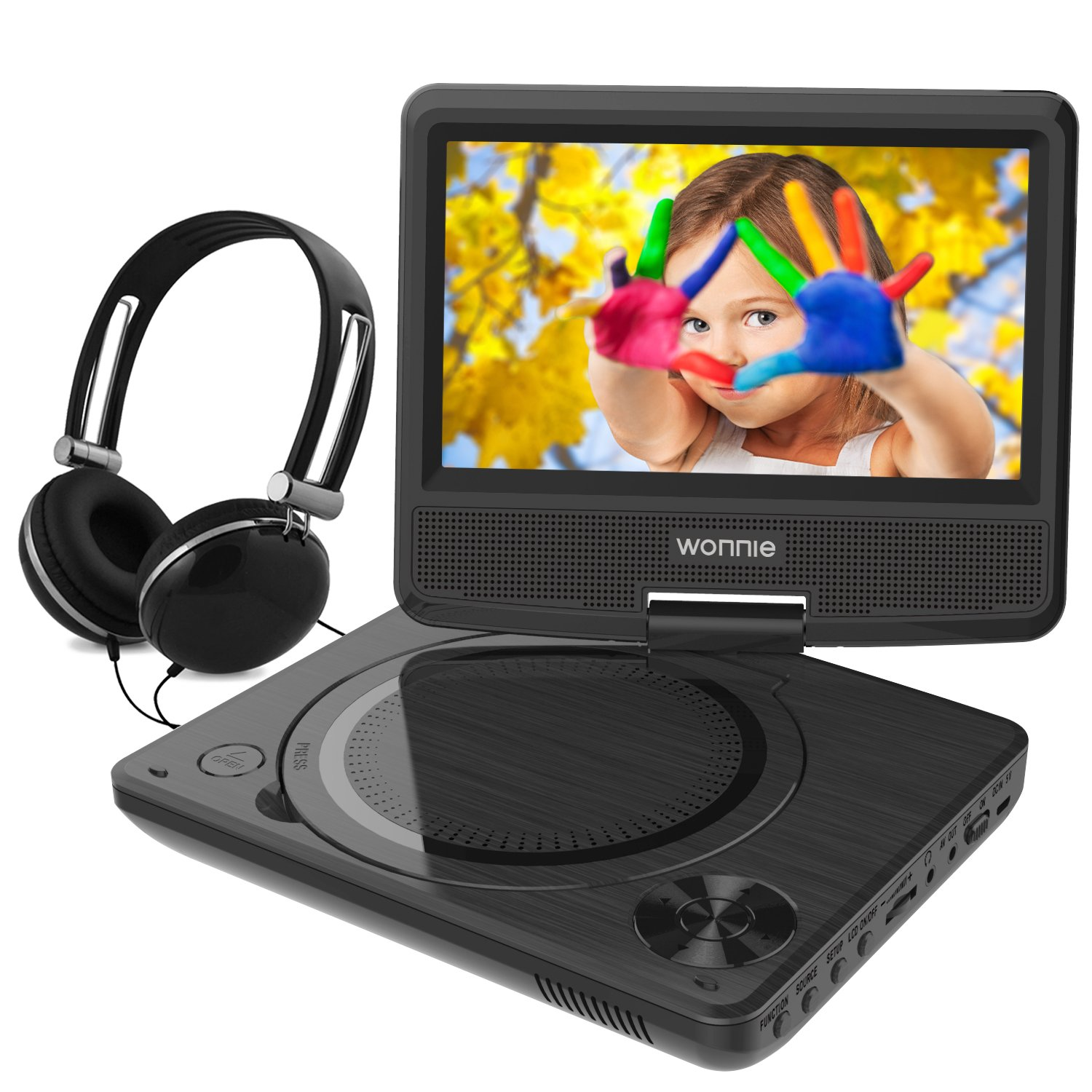 WONNIE 7.5 Inch Portable DVD Player with Swivel Screen, USB / SD Slot and 4 Hours Rechargeable Battery, for Kids ( Black )