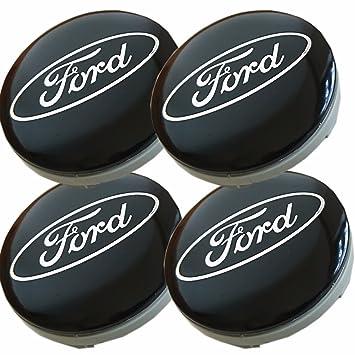 Juego de 4 tapas de Ford Llantas Mediados De Buje 54 mm protectora Negro/Plata