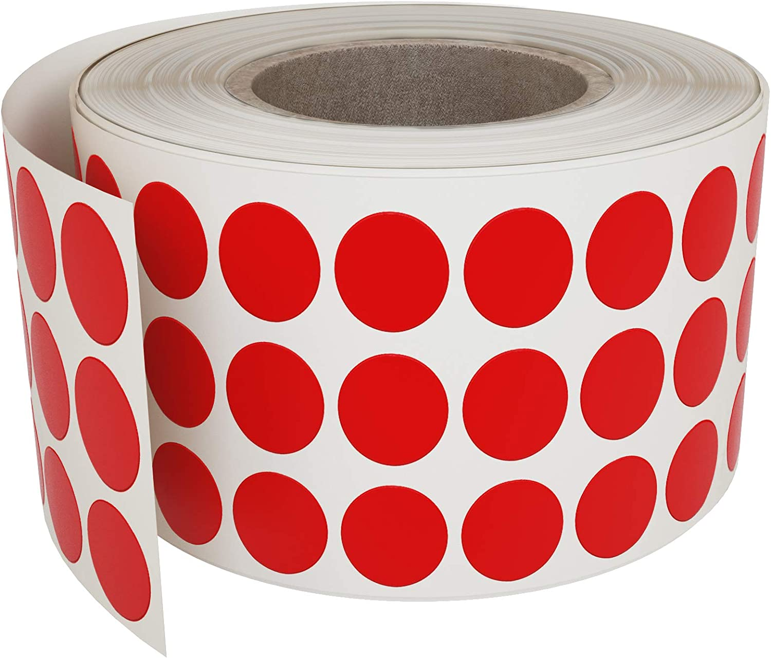 Royal Green Red Dot Stickers on a roll 1/4 Inch - Color Coding Label 8mm (0.25 in) - 2000 Pack