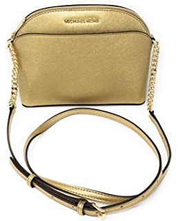 ceabb2c7ccf6ab Michael Kors Ginny Pebbled Leather Half-Moon Crossbody Bag- Marigold ...