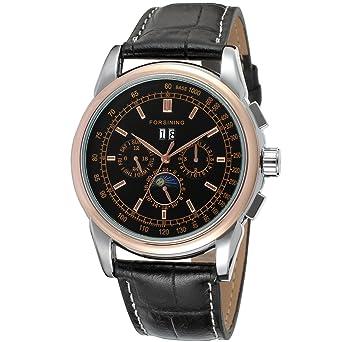 forsining fase de la luna automático alta gama de hombre piel reloj de muñeca fsg319 m3t3: Amazon.es: Relojes
