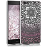 kwmobile Étui transparent en TPU silicone pour Huawei P8 Lite en violet blanc transparent Design soleil indien