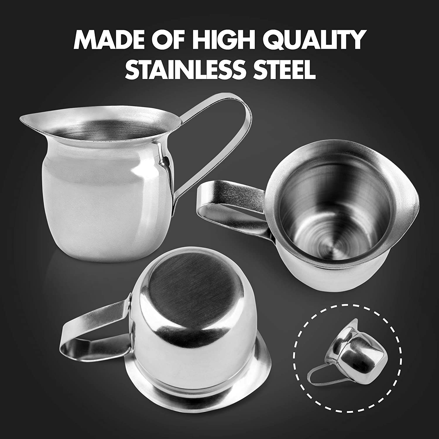 Salad Dressing Coffee Cream Cafes 3 oz Creamer Pitcher Sugar Stainless Steel Bell Creamers Maple Syrup Mini Cup Container for Serving Milk Espresso Machine for Restaurant 12 Pack Home Used