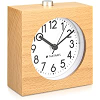 Navaris Reloj analógico de Madera con función Snooze