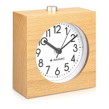 Navaris Reloj analógico de Madera con función Snooze - Despertador Retro en Forma de Cuadrado con