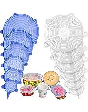 Stone TH Tapas de Silicona Elásticas, 12 Fundas para Tazones de Silicona, Reutilizable Fundas para Alimentos Tapa Tazas, Boles o Tarros, Lavavajillas, Refrigerador